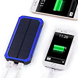 Solar Charger, Solar Power Bank 15000mAh Dual USB External Battery Charger Backup Battery Pack with 6LED Flashlight Solar Panel Charger for Bluetooth iPhone HTC Nexus Camera Tablet-Blue