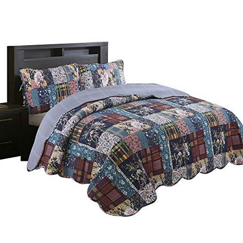 Beddinginn 100% Cotton Queen Quilt Sets Rural Floral Bedspread Vintage Jacquard Washed Coverlet Thicken Reversible Bed Blanket