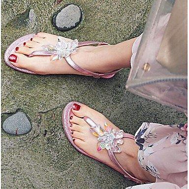 RTRY La Mujer Comodidad Verano Sandalias De Cuero Cuero Nappa Sonrojarse Plata Rosa Plana Casual US8 / EU39 / UK6 / CN39