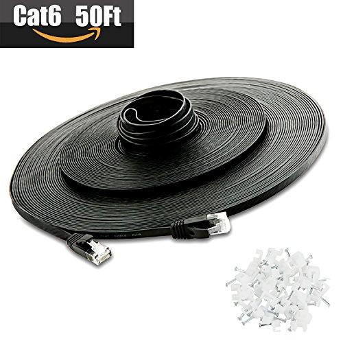 ?Clearance sales?Cat 6 Ethernet Cable 50 ft, Flat High Speed Internet LAN Computer Network with Snagless RJ45 Connectors Patch Cable Cord for Xbox, Router, Modem, Printer, Patch Panel