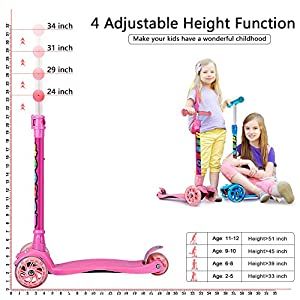 Kick Scooter For Kids 3 Wheel Scooter Lean To Steer 4 Adjustable Height Glider Ride On PU Flashing Wheels for Children 3-12 Year Old All Parts 10 Years Warranty Pink