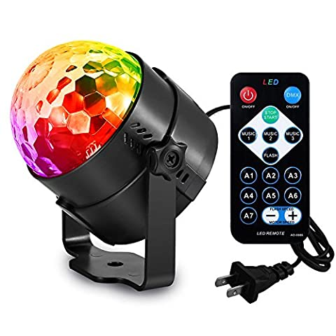 AOMEES Disco Ball Party Lights Strobe Light 3W Sound Activated DJ Lights Stage Lights for Halloween Christmas Holiday Party Gift Kids Birthday Celebration Decorations Ballroom Home Karaoke Dance - Fluorescent Step Light