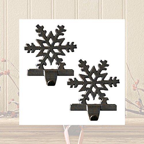 Iron Snowflake Stocking Hanger - Set of 2 - Iron Stocking Holders