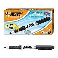 BIC Great Erase Grip Marcador de borrado en seco, punta fina, negro, 12 unidades