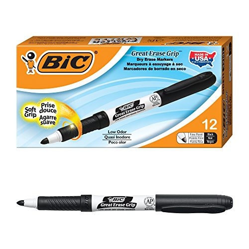 Erase Dry Erase Marker - BIC Great Erase Grip Dry Erase Marker, Fine Point, Black, 12-Count