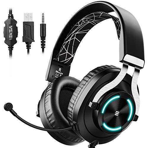 EKSA Gaming Headset - PS4 Headset with Noise Cancelling Mic & RGB Light - Gaming Headphones for PC, PS4/PS5 Controller, Xbox One, Nintendo Switch