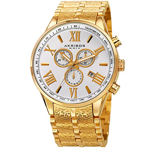 Akribos XXIV Men's Quartz Stainless Steel Casual Watch, Color:Gold-Toned (Model: AK960YG)