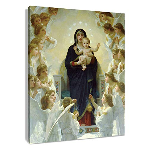 HVEST Virgin Mary Canvas Wall Art Christ Jesus in Heaven Artwork Angel Paintings for Bedroom Living Room Bathroom Wall Decor,Stretched and Framed Ready to Hang,16x20Inches