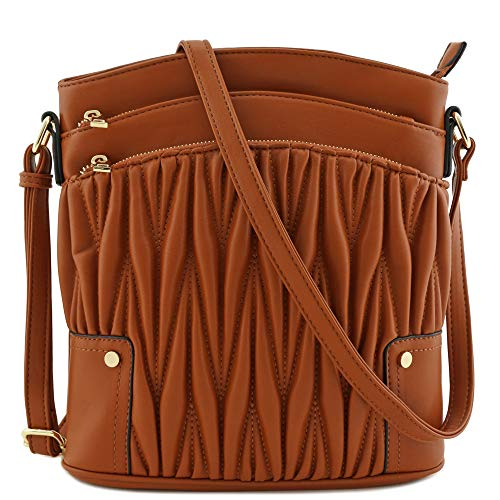 (Triple Zip Pocket Large Crossbody Bag (Quilted)