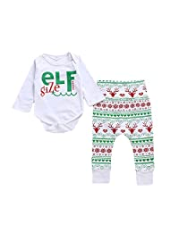 Angel3292 Newborn Baby Girls Christmas Elf Long Sleeve Romper + Soft Pants Two-Piece