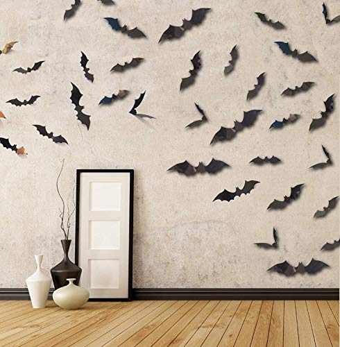 Happy Halloween Banner Party Supplies PVC 3D Decorative Scary Bats Wall Decal Wall Sticker, Halloween Eve Decor Home Window Decoration Set]()