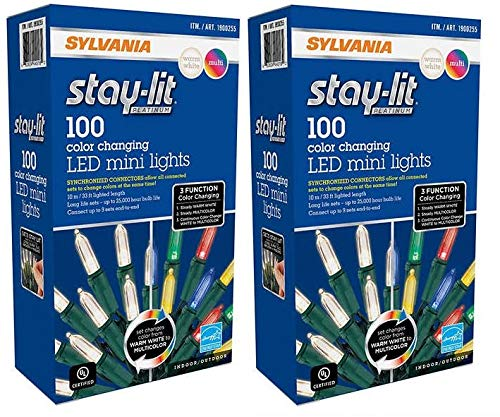 Sylvania 3-Function Color Changing Connectable LED Mini Christmas String Lights Warm White Multi Color Indoor/Outdoor (2 pack (200 lights))