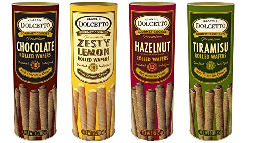 Dolcetto Premium Cream Filled Rolled Wafers Gourmet Cookies 4 Flavor Variety Bundle, (1) each: Chocolate, Zesty Lemon, Hazelnut, Tiramisu (3 Ounces) Wafer Rolls
