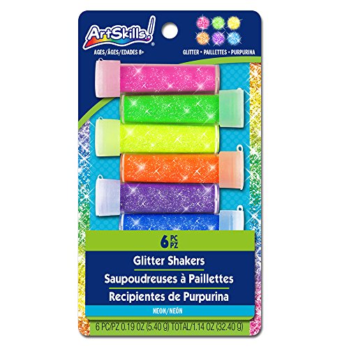 ArtSkills Neon Glitter Shaker Set, Arts and Crafts Supplies, Ultra-Fine and Bright Craft Glitter.19oz each, Assorted Colors, 6-Count (PA-1893)