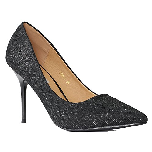 KHSKX-Ladies Sequins Tip Single Ladies High-Heeled Shoes Stilettos Scoop Shoes All-Match Shallow Mouth Of Small Black Shoes. Thirty-six