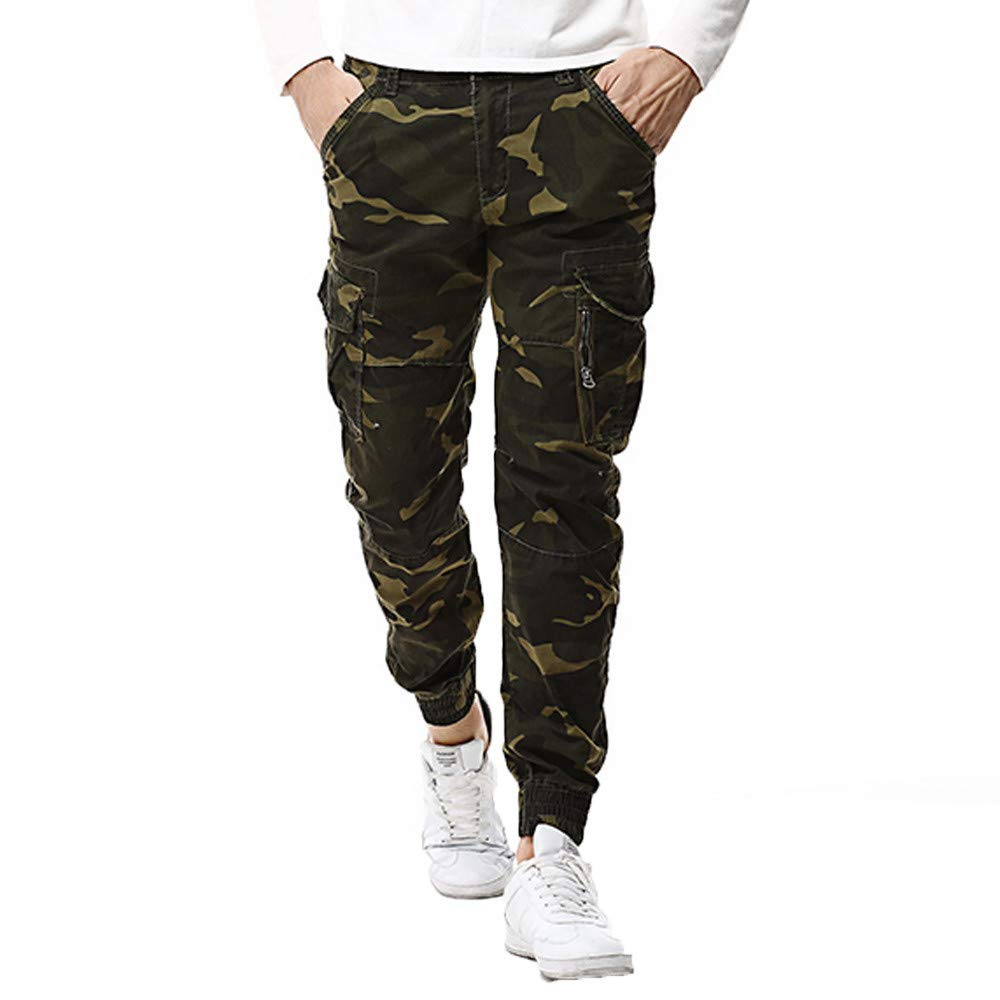 Alalaso Joggers Pants for Men, Cotton Twill Chino Pants Regular Fit Camo Cargo Trousers Workout Running Gym Trousers