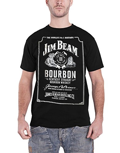Jim Beam Black Label (Jim Beam Shirt Bourbon Bottle Label Logo Official Mens Black)