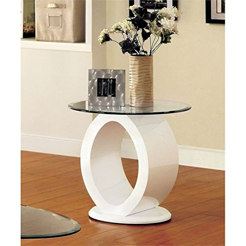 Furniture of America Mason Round Glass Top End Table in White