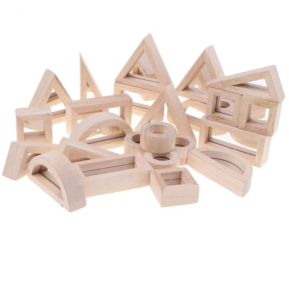 Baby Mirror Baby Toddler Wooden Toys - 24Pcs Mirror Stcking Blocks Give The Best Gift for Infants