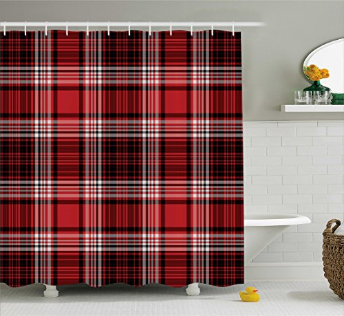 Ambesonne Red and Black Shower Curtain, Ancient British Skirt Cloth Print Squares Abstract Bold Lines Art Print, Fabric Bathroom Decor Set with Hooks, 70 Inches, White and Ruby (Skirt Abstract Print Collection)