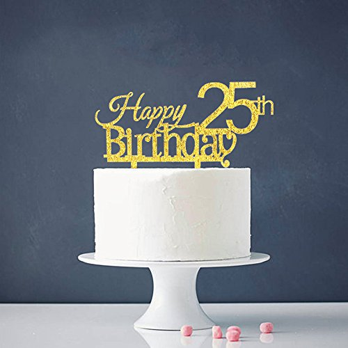 INNORUR Happy 25th Birthday Cake Topper 25 Anniversary Gold Glitter Party Decoration