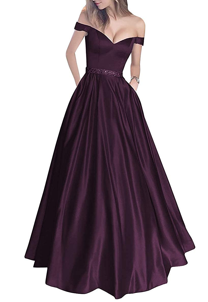 Grape MorySong Women's Off Shoulder Long Prom Dress with Pockets Beading Evening Gown