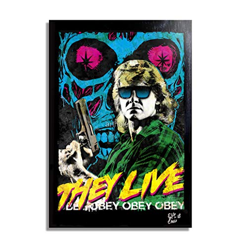 Roddy Piper from John Carpenter's They Live Movie - Pop-Art Original Framed Fine Art Painting, Image on Canvas, Artwork, Movie Poster, Horror, Halloween