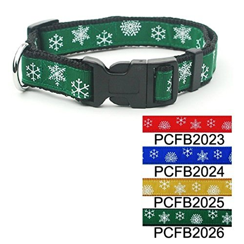 - Green Christmas Snowflake Adjustable Dog Collar 3/4