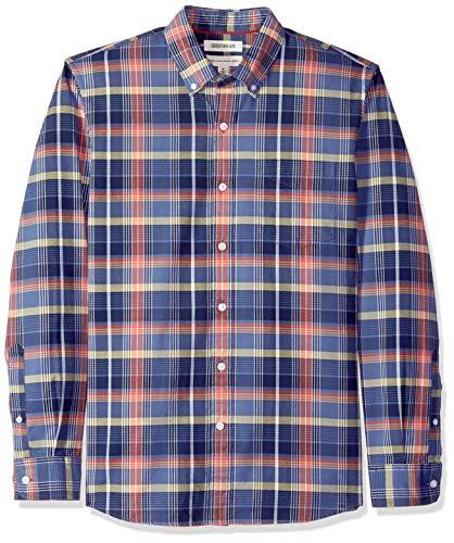 Goodthreads Men's Standard-Fit Long-Sleeve Plaid Oxford Shirt, -denim red plaid, XXX-Large