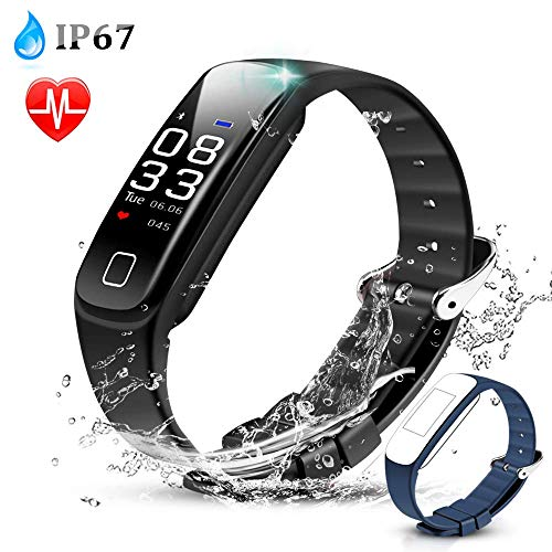 AGPTEK Color Screen Fitness Tracker, Smart Wristband with Sport Band Heart Rate Sleep Monitor Blood Pressure Pedometer Calorie Counter Notifications for iOS Android Smartphones, Black from AGPTEK