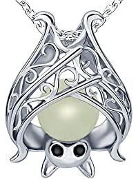 Sterling Silver Bat Pendant Charms Unique And Unisex Necklace damon ghost For Women Girls Mothers day GiftsWith Glow In The Dark Long Jewelry Chain 18 Inch