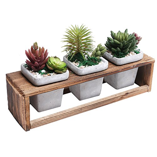 3 Gray Cement Succulent Planter Pots with Distressed Wood Planter Rack, 4 Piece (Rectangular Concrete)