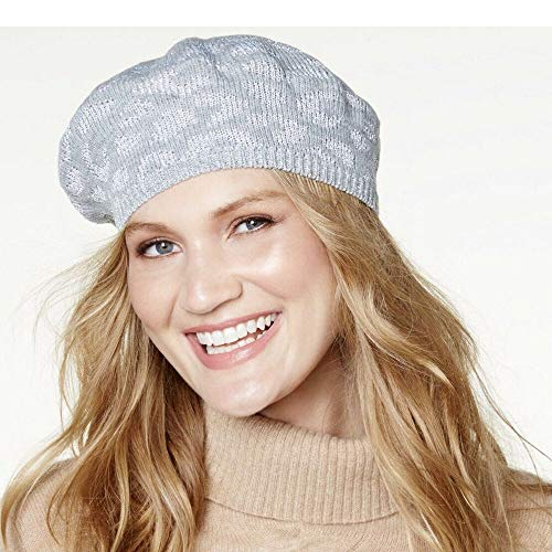 - INC International Concepts Metallic Animal-Print Knit Beret Grey