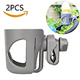 Dreamsoule 2 Pack Stroller Cup Holder,Attachable Stroller Clip Bottle Holder Feeding Bottle Cup Rack Fits Most Strollers/Wheelchairs/Rollators/Walkers/Bicycles/Carriage Accessory (Grey)