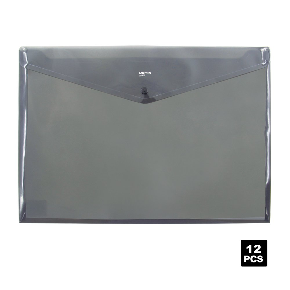Comix Button Bags,Office Supply Button Bags,A3 Size,12pcs/set(A1852) (Gray)