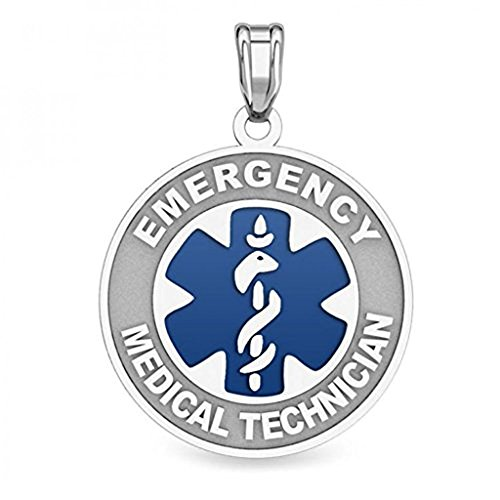 - PicturesOnGold.com Sterling Silver EMT Medical ID Charm or Pendant - 3/4 Inch X 3/4 Inch