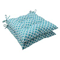 Pillow Perfect Indoor/Outdoor Hockley Tufted Seat Cushion, Teal, Set of 2 from Pillow Perfect