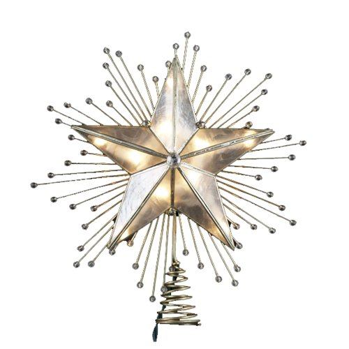 picture of Kurt Adler 10-Inch 5-Point Capiz Star Treetop with Rays and Beads