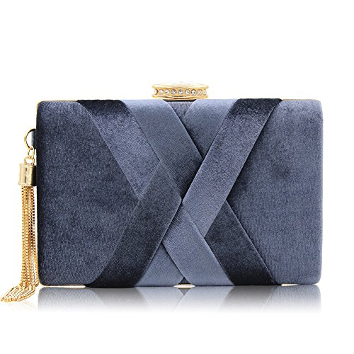 Women Shoulder MSFS Party Out Clutch Dress Wedding Handbag Evening Grey Velvet Tassels B6qf7wq