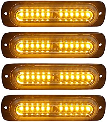 Everrich 10pcs Ultra Slim 6-LED Surface Mount Grille Flashing Strobe Lights for Truck Car Vehicle Emergency Beacon Hazard Warning lights 12-24V Amber
