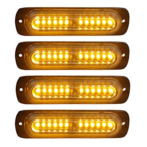 - 4pcs Ultra Slim 12-LED Surface Mount Grille Flashing Strobe Lights for Truck Car Vehicle Mini LED Light-Head Emergency Beacon Hazard Warning lights 12-24V (Amber)