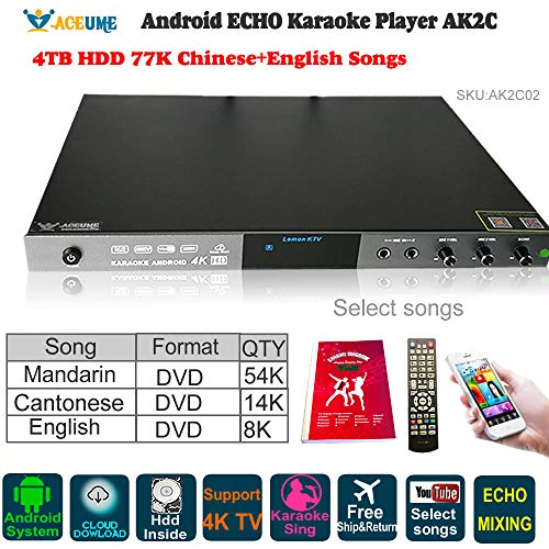 (4TB HDD 77K Chinese(Mandarin,Cantonese),English DVD Songs,Android Cloud Karaoke Machine, Jukebox,Free Cloud Download,ECHO Mixing, Microphone Port, AK2C, Remote Contoller,YOUTUBÊ Songs Selected)