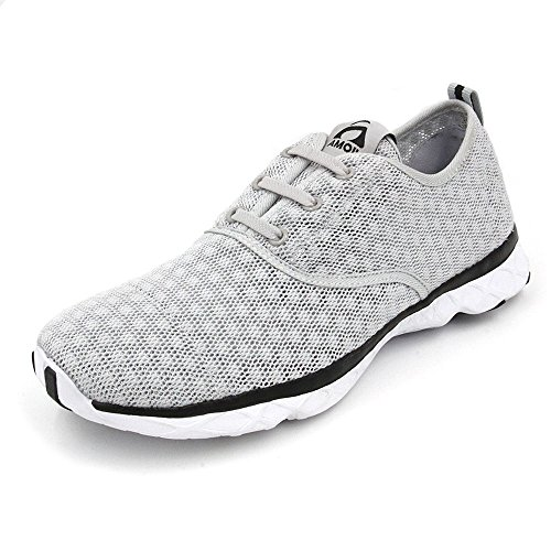AMOJI Water Aqua Shoes Swim Beach Sneaker Athletic Tennis Shoes Hiking Sport Slip On Surfing Quick Drying Breathable Rafting Walking Female Men Women Ladies Male Adult Gray 13US Women/10.5US Men