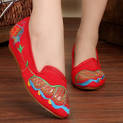 Canvas Red Bottom Oxfords Shoes Embroidered Women OU4qnEpw