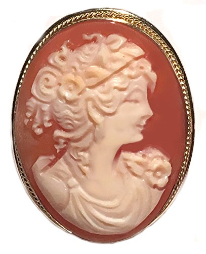 Cameo Brooch Pendant Enhancer, Master Carved, Shell Sterling Silver 18k Gold Overlay Italian Primavera by cameosRus (Image #8)