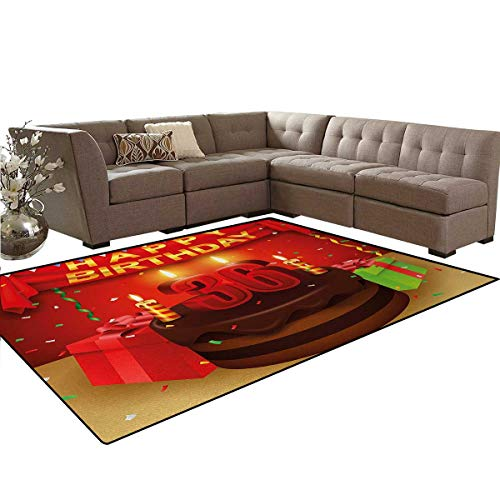 36th Birthday,Rug,Celebration Party with Cake Candles and Presents Happy Birthday Print,Home Decor Floor Carpet,Red and Burgundy,6'x7'