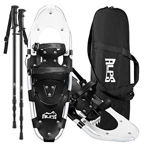 ALPS Performance Snowshoes with Pair Antishock Snowshoes Poles + Free Carrying Tote Bag (21 INCHES)