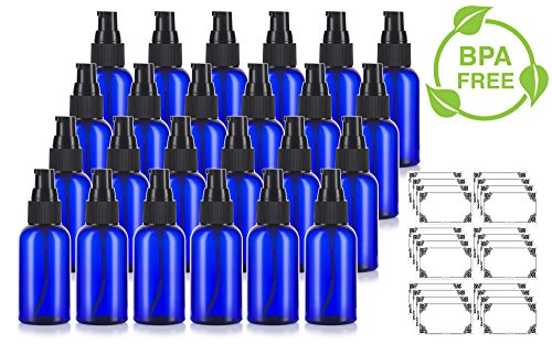 Cobalt Blue 2 oz Boston Round PET Bottles (BPA Free) with Treatment Pump (24 Pack) + Labels