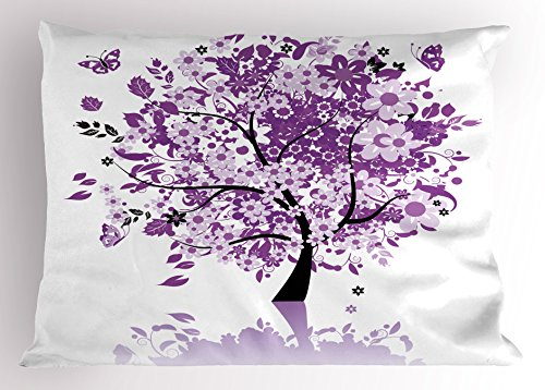 Ambesonne Nature Pillow Sham, Spring Tree of Life Woods with Blooming Flower and Butterfly Flying Romance, Decorative Standard Size Printed Pillowcase, 26
