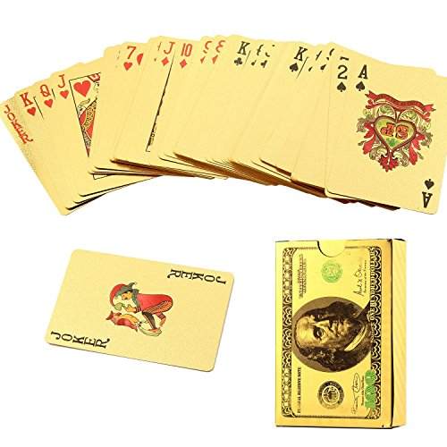 (Dollar Style) - Pawaca Gold Poker Card  24K Gold Foil Plated Waterproof Playing Cards Poked Deck 99.9% Pure-Perfect for Leisure Time (54 PCS)